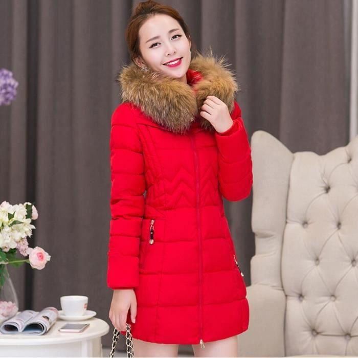 Vêtement Taille Femme Doudoune Unie de Capuche Mode Fourrure Chaud Rouge Longue Manteau Grande Blouson Col Couleur Avec Hiver kZTOXPiu