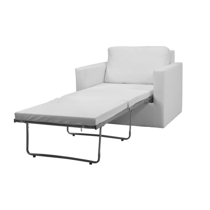 fauteuil convertible blanc 1 place gabi achat vente fauteuil blanc cdiscount. Black Bedroom Furniture Sets. Home Design Ideas