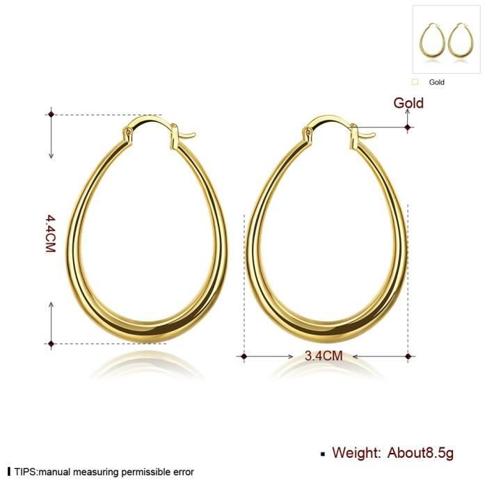 Womens 40mm Oval Teardrop Hoop Earrings 14k Gold & Rose Gold Nice Gift ForXWZ60