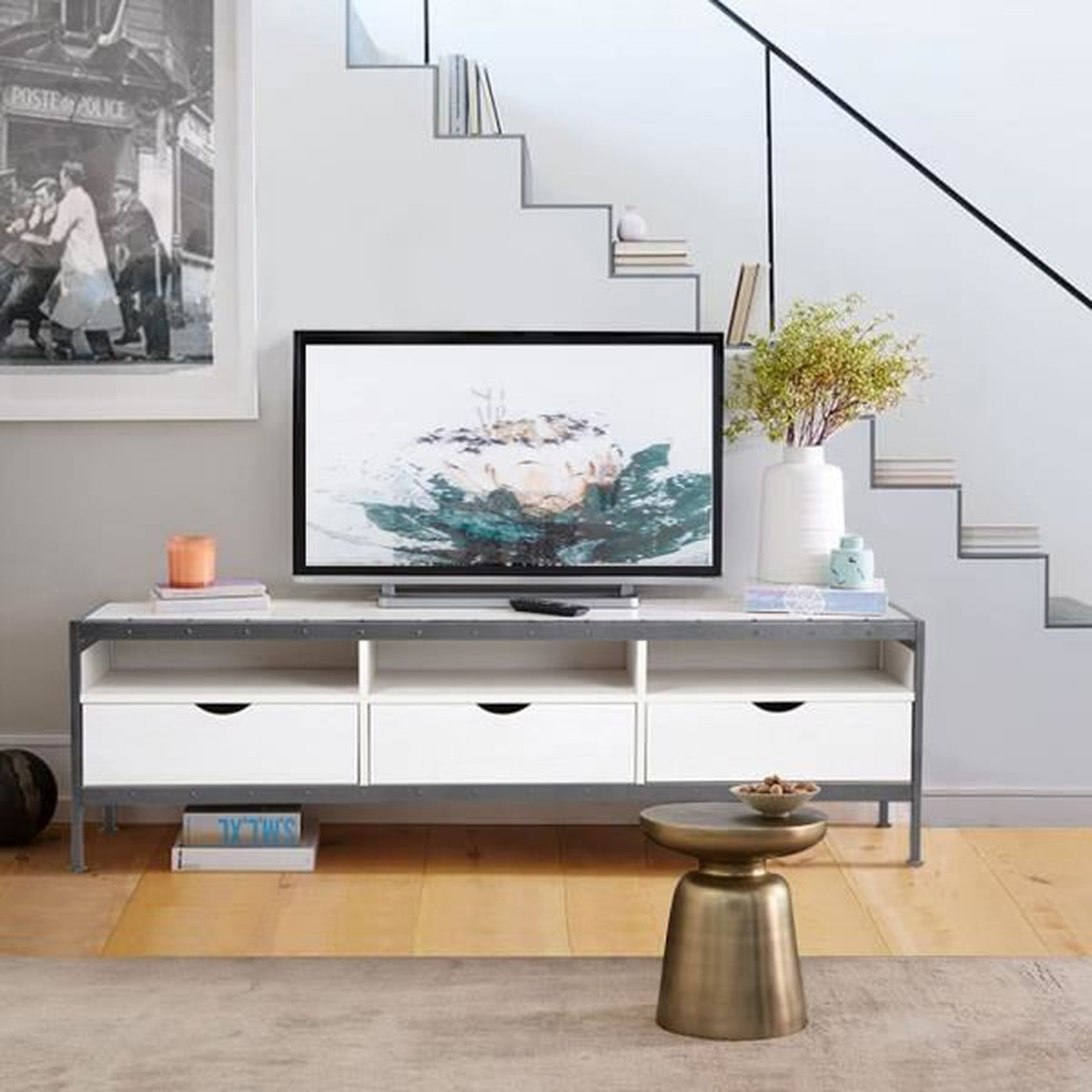 Meuble Tele Tv Support 140cm 3 Tiroirs Compartiments Rangement Plateau Panneau Particules Bois Blanc Metal Peint Gris Achat Vente Meuble Tv Mural Meuble Tele Tv Support 140c Cdiscount