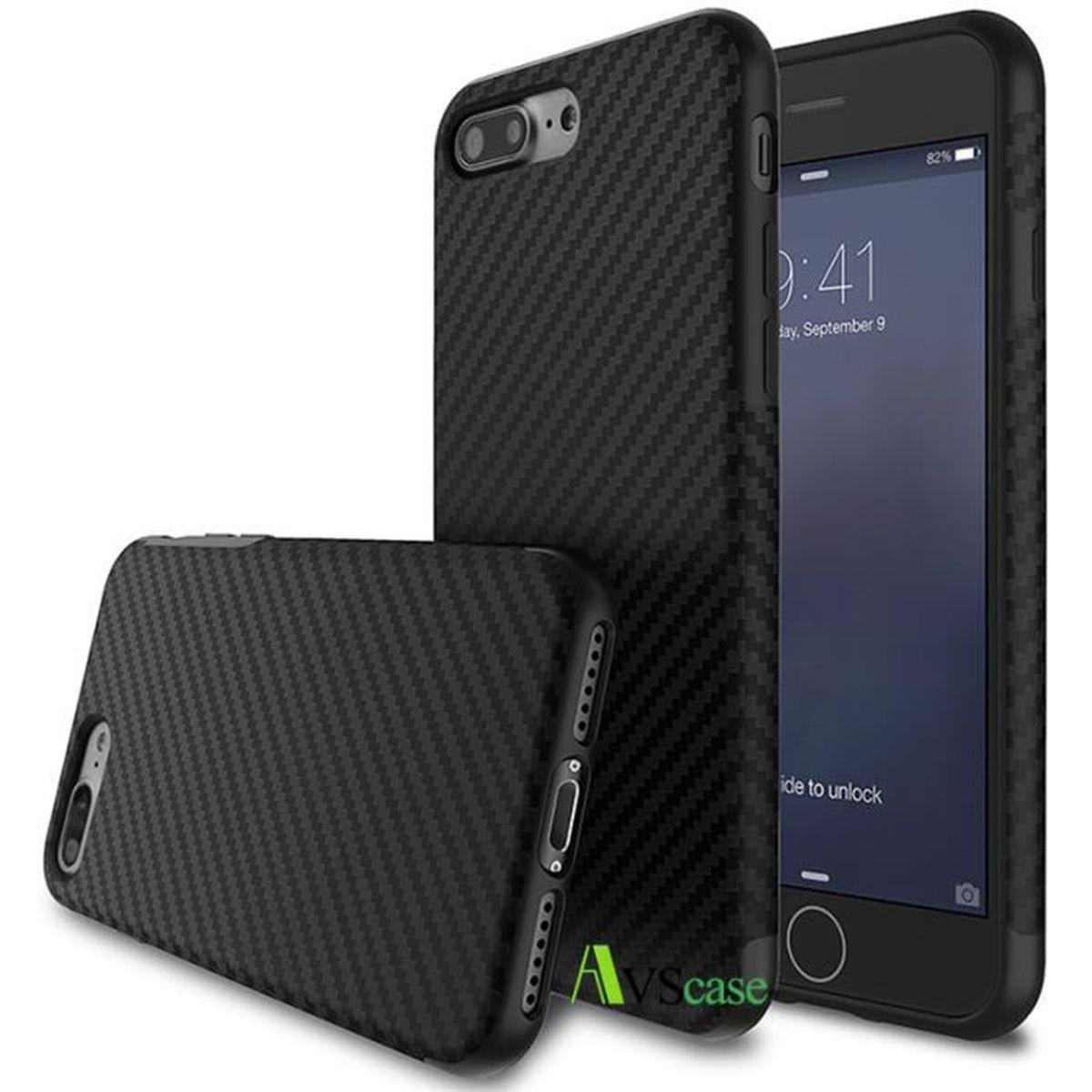 coque iphone 7 plus carbone noir mat haute qualite