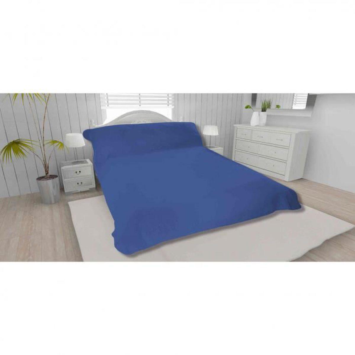 JETÉE DE LIT - BOUTIS Jeté de lit bleu 100% polyester 240x220 - Terre de
