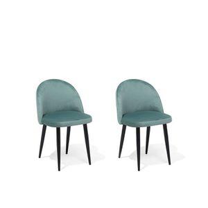 CHAISE Lot de 2 chaise en velours vert VISALIA