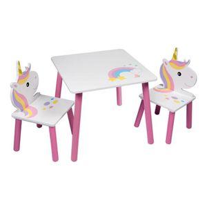 TABLE ET CHAISE LICORNE Table et 2 chaises pour enfant - En bois M