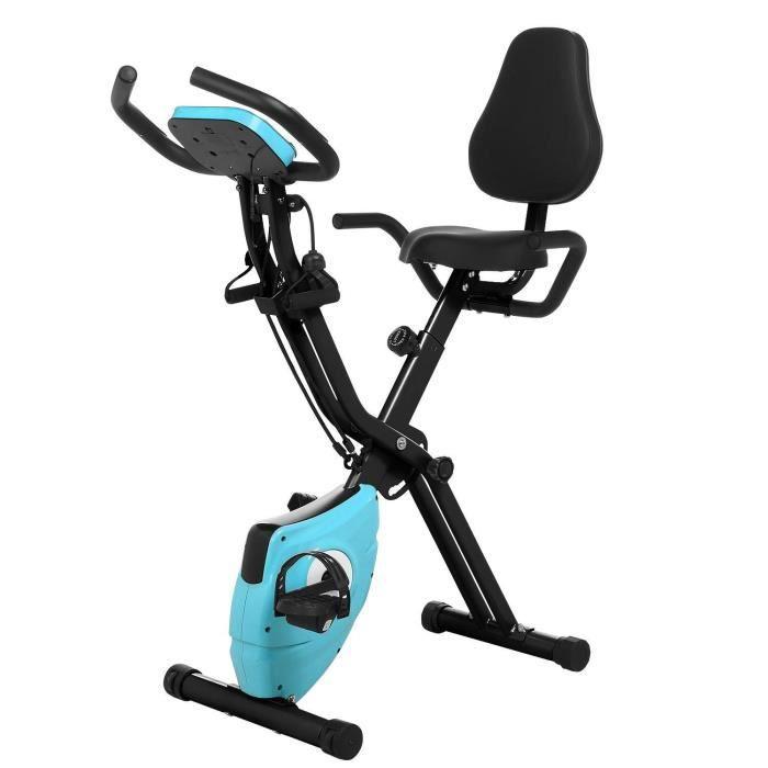 Vélo d'appartement pliable Vertical velo de physique fitness avec la garniture de dossier - Noir bleu