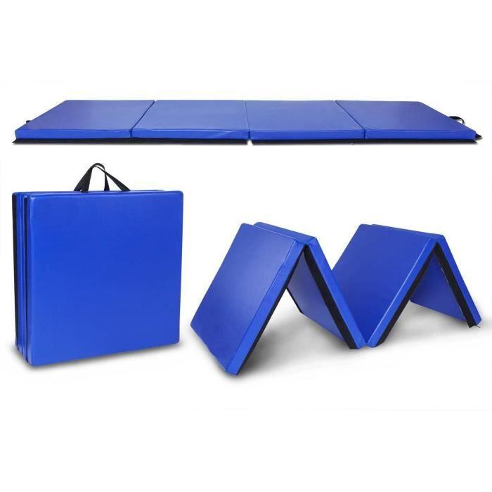 Tapis de Gymnastique Pliable- 240x60x5cm-Gym pour Fitness, Yoga-bleu