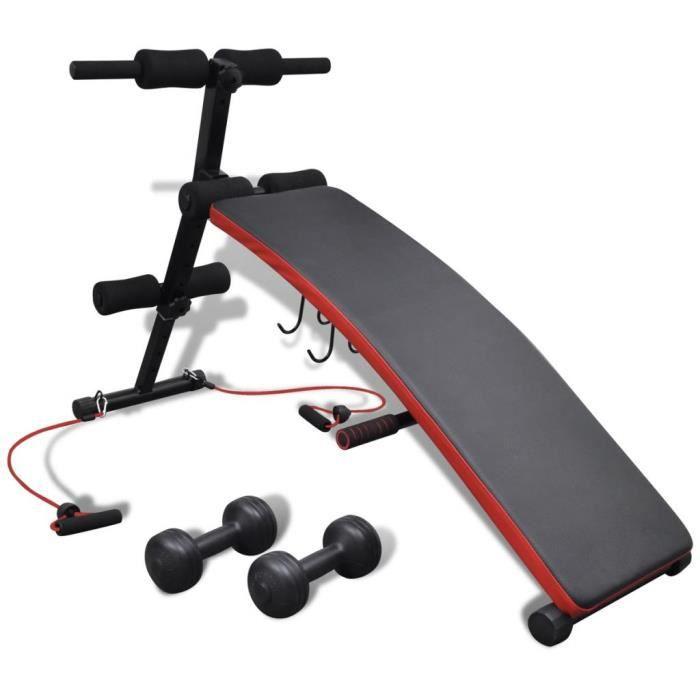 LIZ® Banc d'exercice réglable multifonctionnel avec haltères de 3 kg