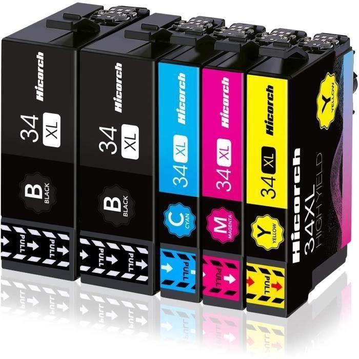 Pack 5 Cartouche d encre compatible pour Epson 34XL 34XL Grande Capacité pour Epson Workforce Pro WF-3720DWF WF-3725DWF