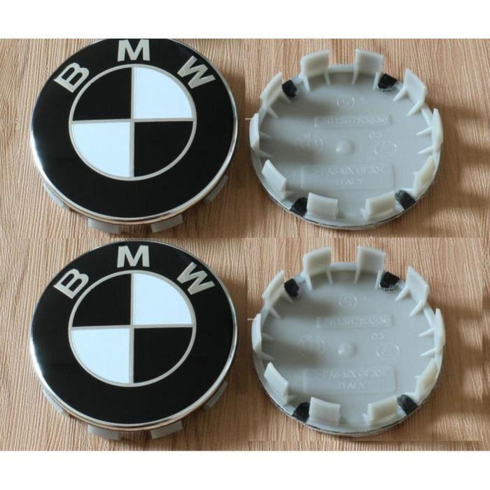 4x68mm BMW Hubcaps logo Centre de la roue de Logo Noir et blanc Series 1 3 5 7 M Z X Stud Jantes Alliage