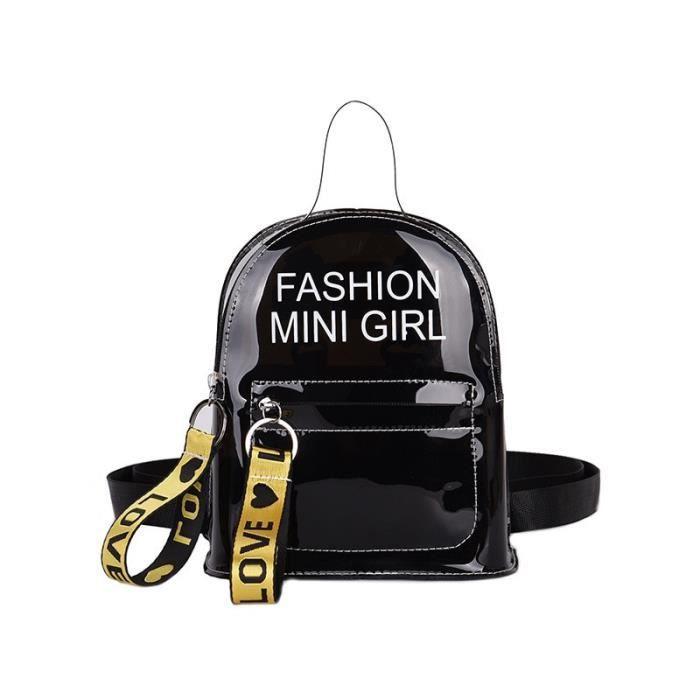 SAC A DOS,Femmes sac à dos Transparent pour enfant Mini petit sac à dos PVC gelée claire sac à dos lettre imprimer - Type black
