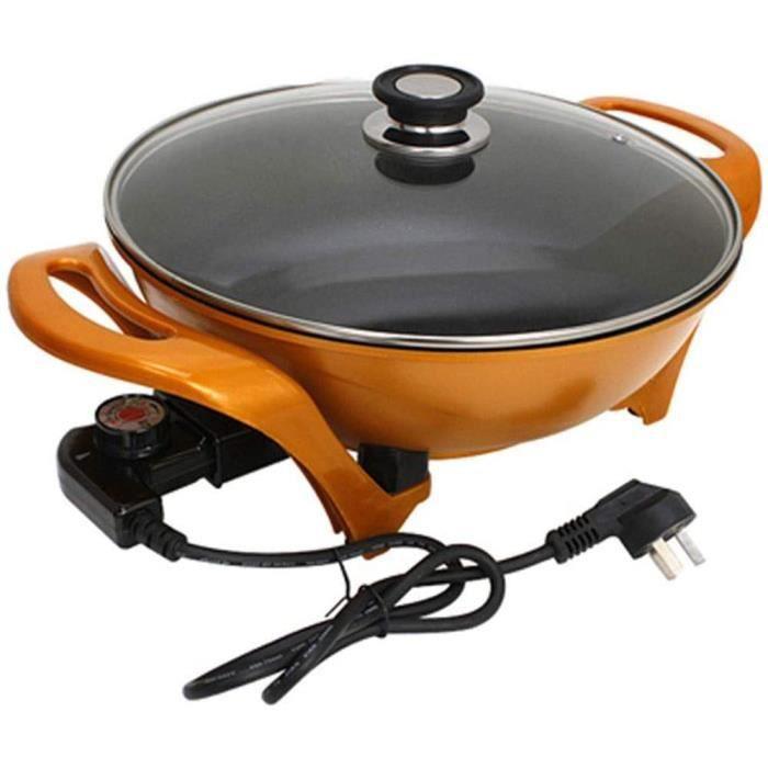 FUDIV À usages multiples Pot électrique Wok Lingot Pot d'or Pot antiadhésif Marmite électrique Cuisinière électrique Hot Pot Noodle