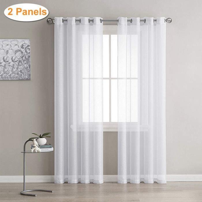 Lot de 2 Rideaux Voilages Blanc, Panneaux de Fenêtres Voile de Fenêtre avec Solide à Oeillets pour Salon Chambre , 140 cm x 240cm