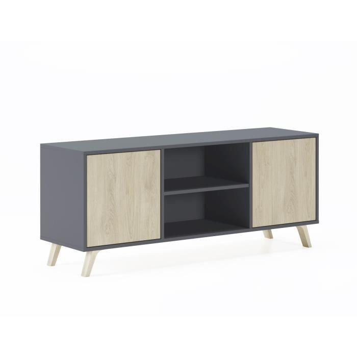 Meuble TV 140 avec 2 portes, salon, modèle WIND, structure couleur Gris Anthracite, portes couleur Puccini, mesure 140x40x57cm