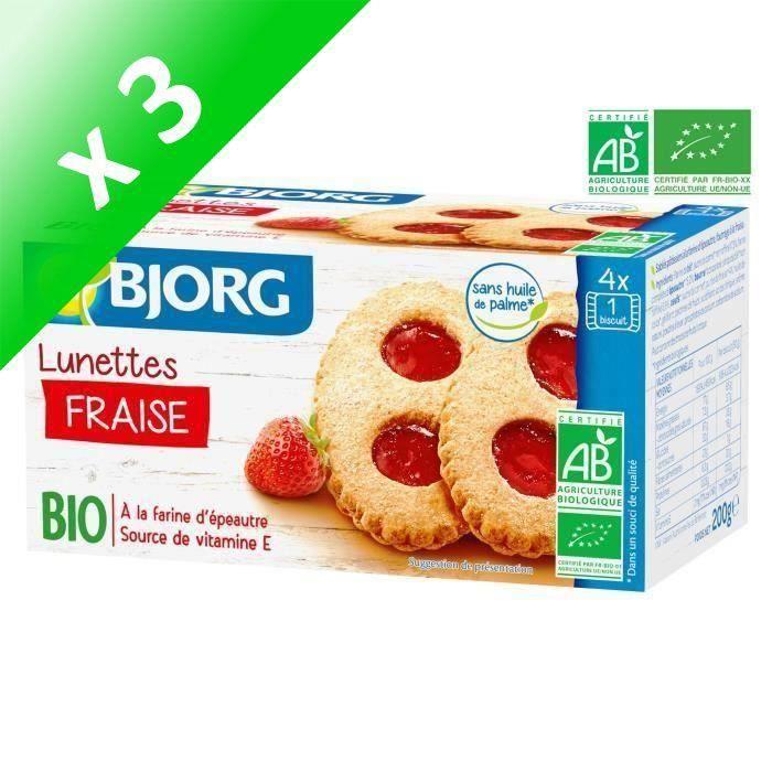 [LOT DE 3] BJORG Lunettes à la Fraise Bio 200g
