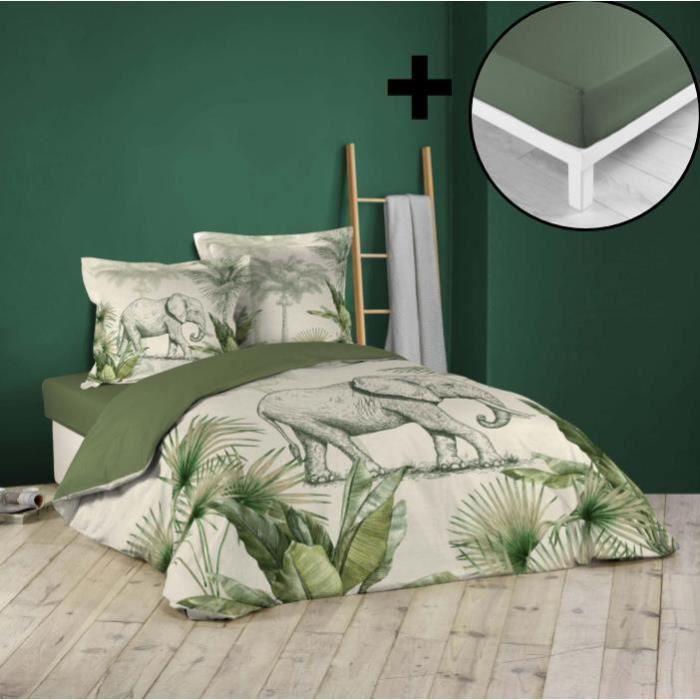 Pack parure de couette 220x240 cm 100% coton Jungle + drap housse 140x190 cm Kaki