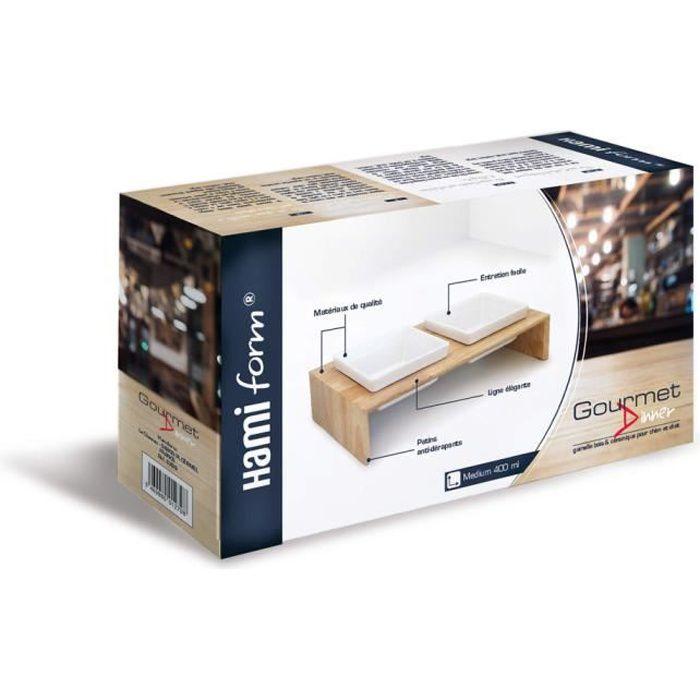 HamiForm - Gamelle Double en Céramique avec Support Bois pour Chien et Chat - M Blanc