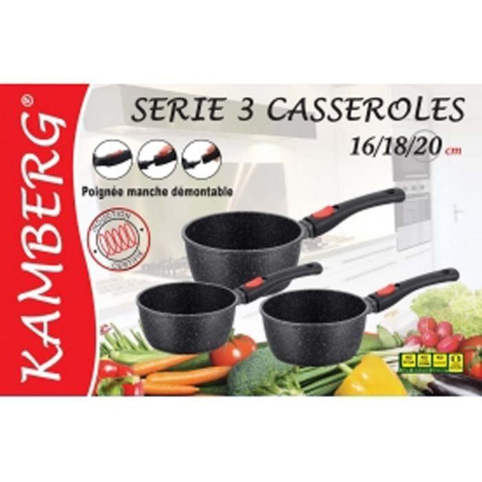 3 casseroles en pierre manches amovibles, induction, antiadhésive, kamberg