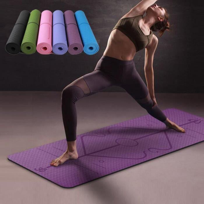 Tapis de yoga tapis de sol pour sport fitness antidérapant violet 1830x610x6mm