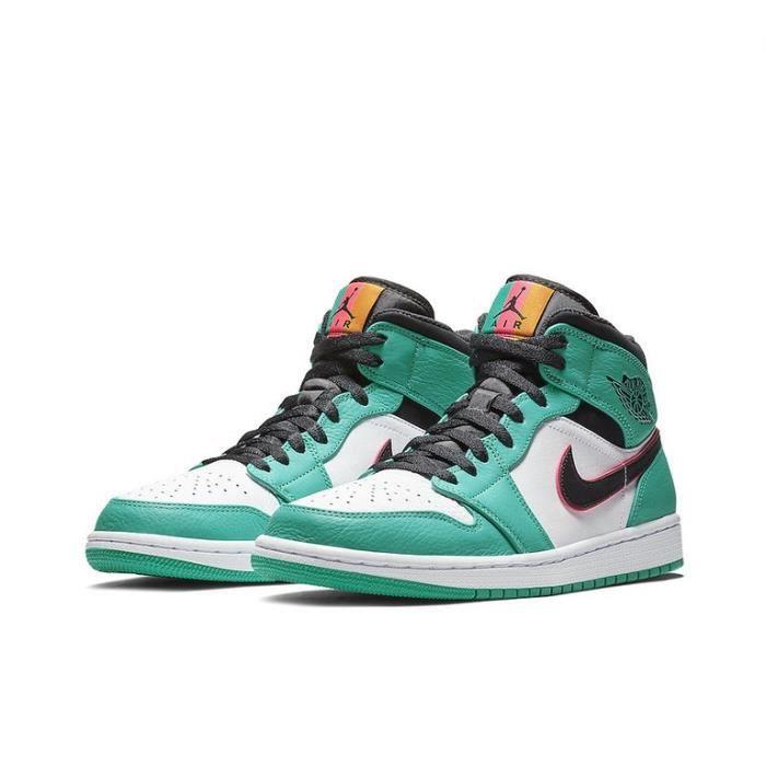 Air Jordan 1 Mid -South Beach- Chaussures de Sport Basket AJ 1 Pas Cher pour Homme Femme Vert
