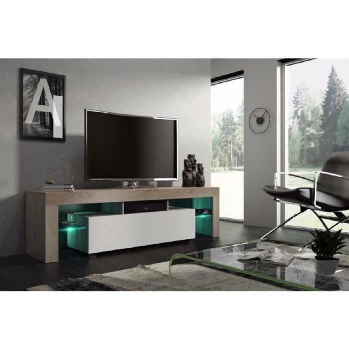 Meuble tv 160 cm chêne MDF et blanc mat avec led RGB