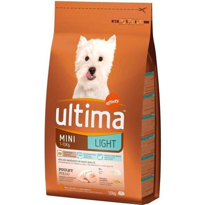 Ultima Croquettes Light Chiens Mini 1-10 Kg Poulet Riz Format 1,5Kg (lot de 3)