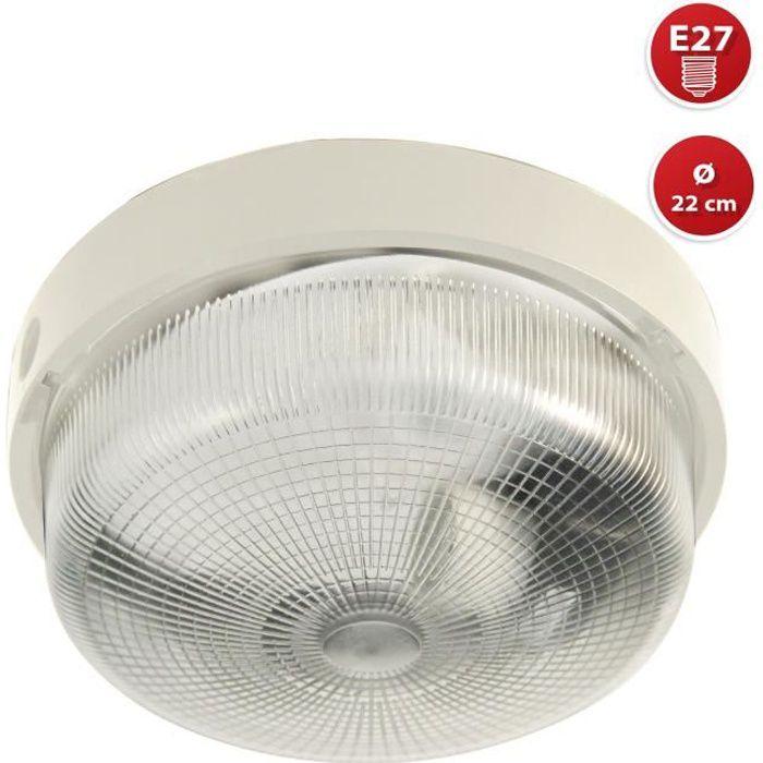 Plafonnier D'exterieur - BIGBOB: hublot rond 22cm en plastique + verre E27 max 60W - Blanc