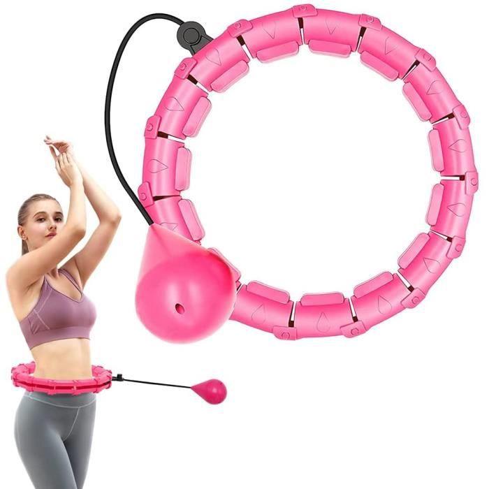 Cerceau Hula Hoop Fitness Adulte,24 Noeuds Anneau Détachable 2 en 1 Taille Réglable avec Gravité Boule de Poids 360 Degrés Tournant