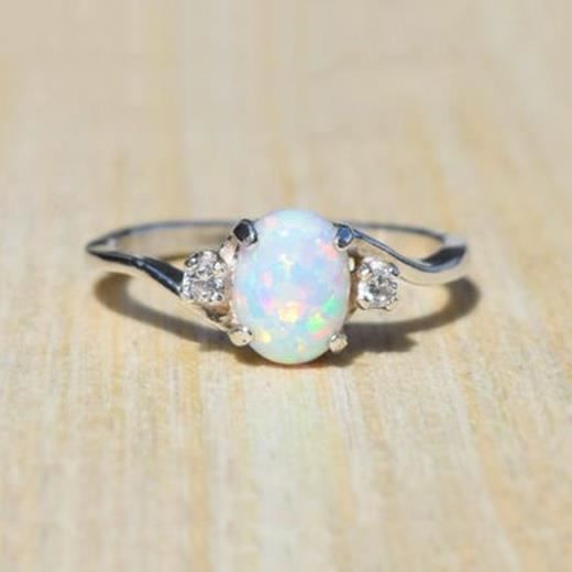 Fête De Fiançailles Cadeau Feu Opale Blanc Plaqué Platine anneaux Multi-Taille