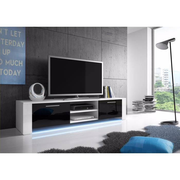 meuble tv global blanc mat noir brillant avec led achat vente meuble tv meuble tv global. Black Bedroom Furniture Sets. Home Design Ideas