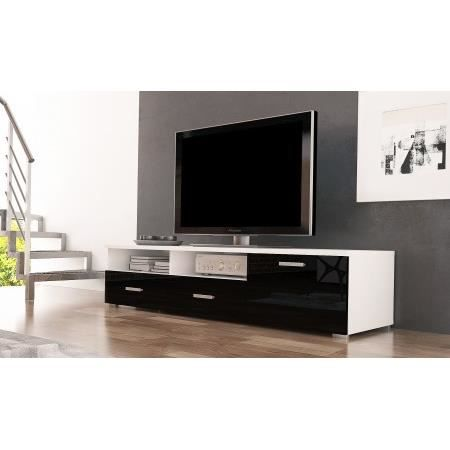 meuble tv celia blanc mat noir brillant achat vente meuble tv meuble tv celia blanc mat. Black Bedroom Furniture Sets. Home Design Ideas