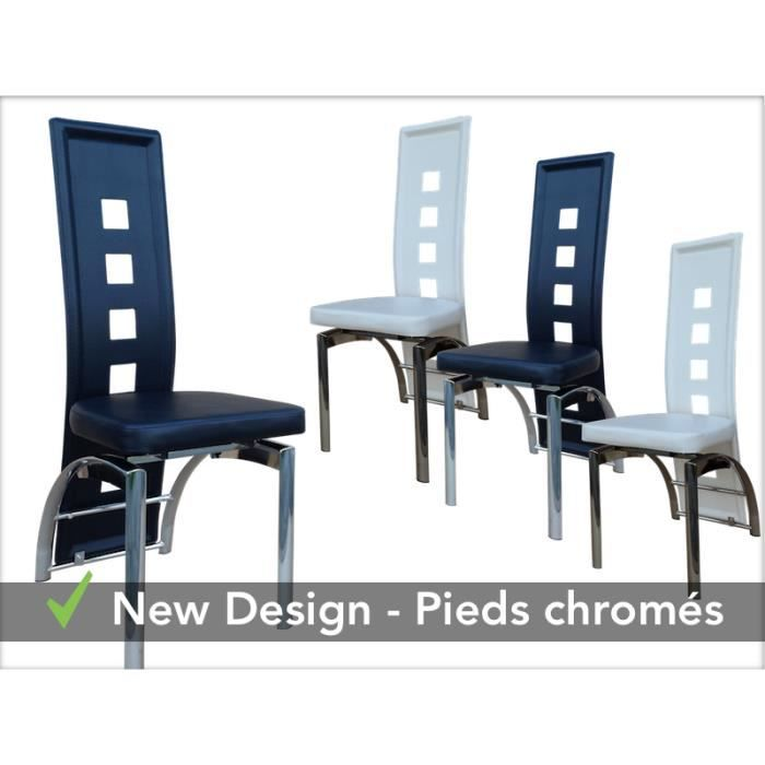 Enzo lot 4 chaises 2 noires 2 blanches achat vente - Lot 4 chaises blanches ...