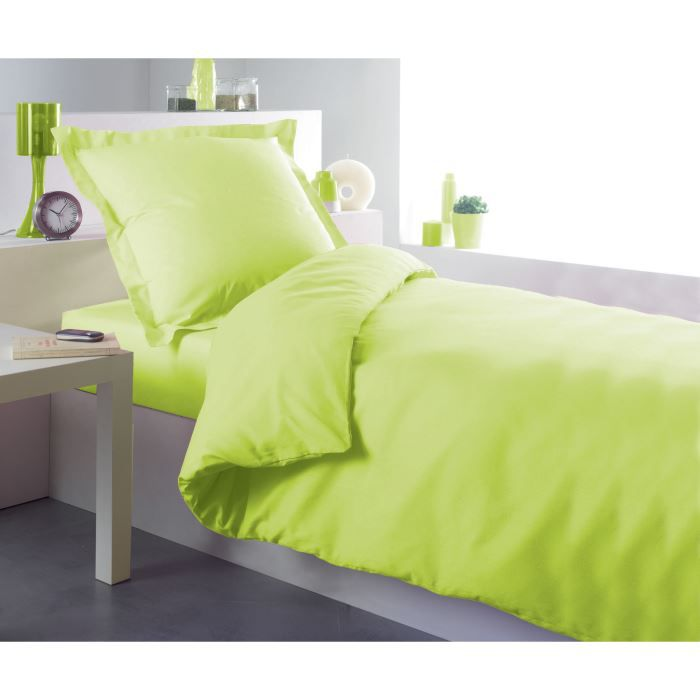 housse de couette 140x200cm vert anis achat vente. Black Bedroom Furniture Sets. Home Design Ideas