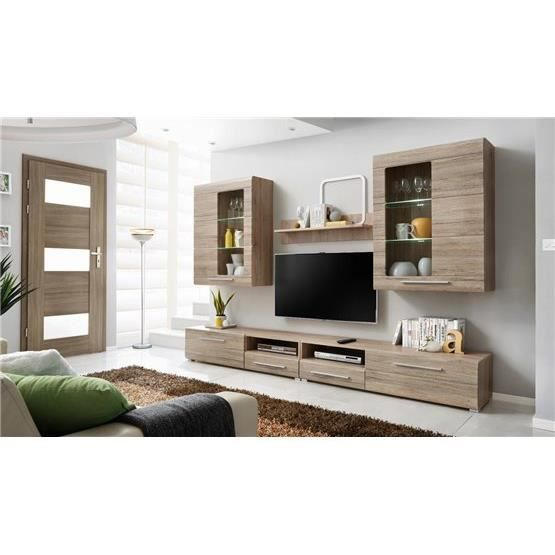 Meuble tv design mural slann bois clair composition - Meuble living tv design ...