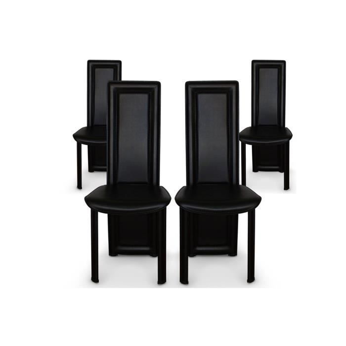 lot de 4 chaises salle a manger noires asya achat vente chaise polyur thane m tal cdiscount. Black Bedroom Furniture Sets. Home Design Ideas