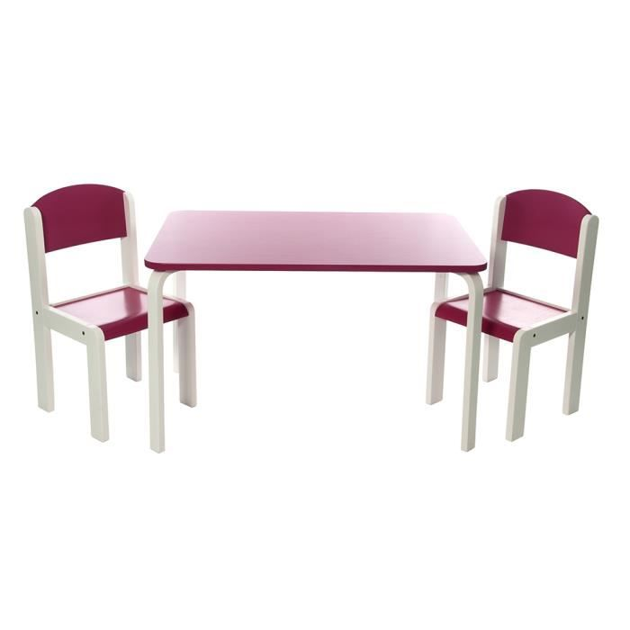 Ensemble table et chaises enfant rose en bois fabio xl for Table et chaise bebe 2 ans