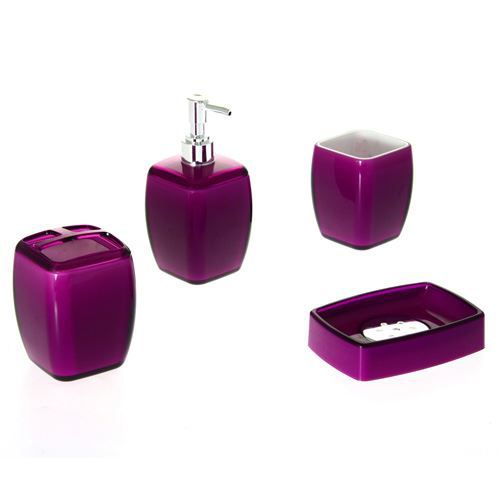 4 accessoires de salle de bain clear violet achat. Black Bedroom Furniture Sets. Home Design Ideas