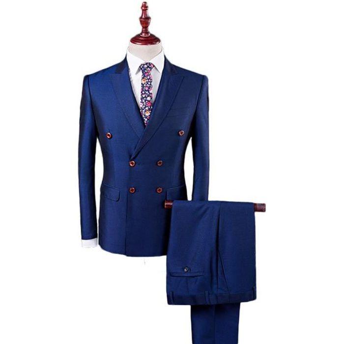 COSTUME - TAILLEUR Costume Cérémonie Homme 3 Pièces Bleu Mode Costume