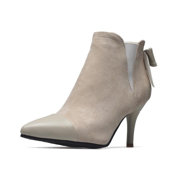Oaleen Bottines fourrées femme bout pointu nœud suède talon aiguille  chaussures boots hiver beige 45