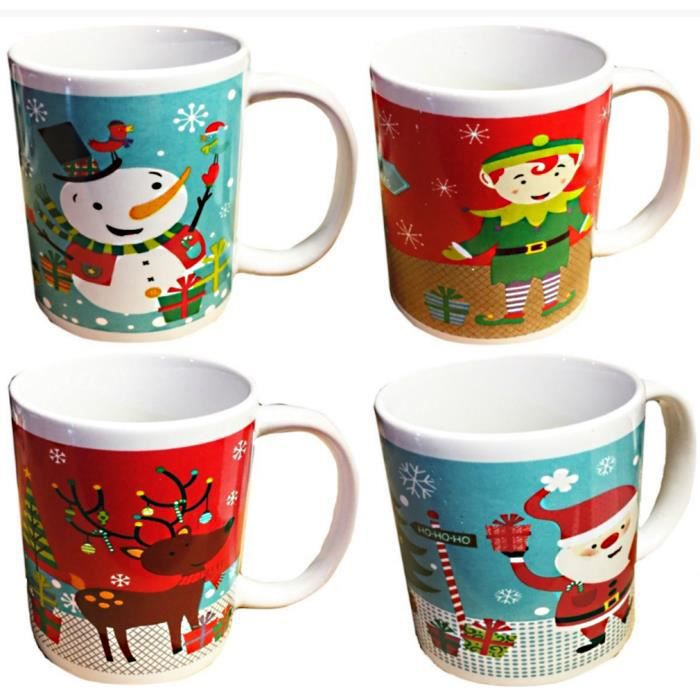 1 tasse mug noel pere noel renne bonhomme de neige lutin. Black Bedroom Furniture Sets. Home Design Ideas