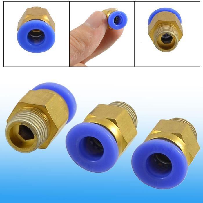 raccord tube connexion rapide 12pcs 1//4 BSP Filetage 6mm pousser air pneum