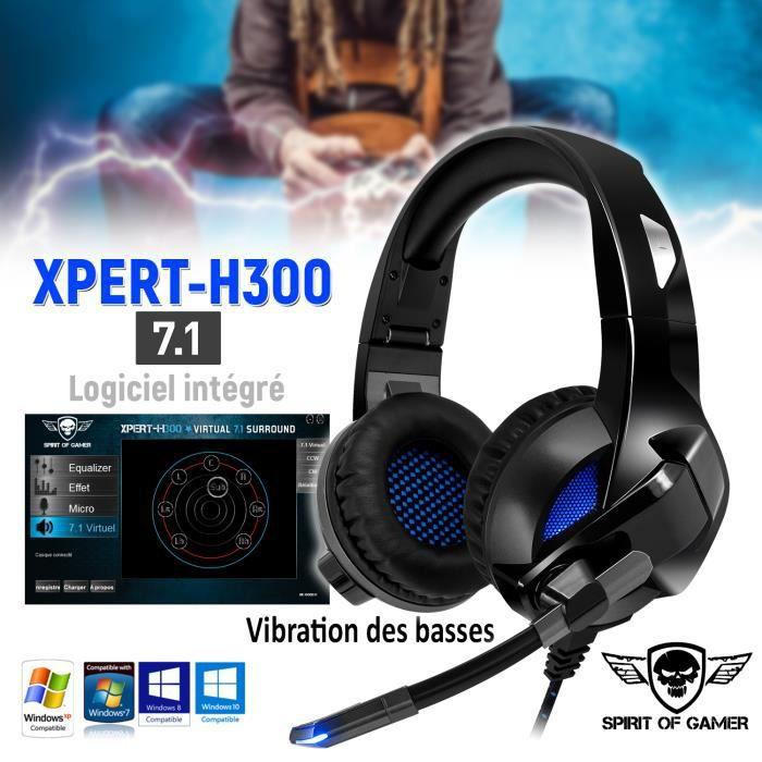 CASQUE AVEC MICROPHONE Casque audio XPERT H300 Surround 7.1 - Vibration d