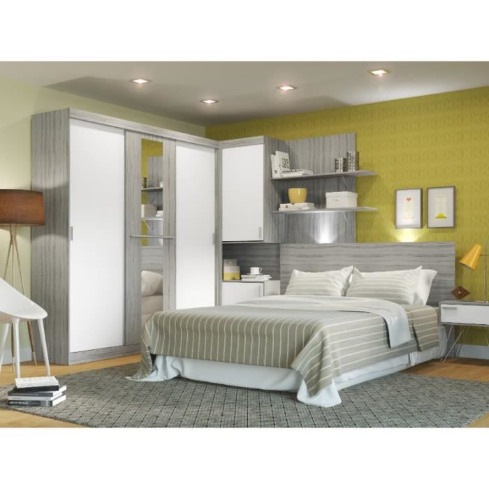 armoire t te de lit int gr e eskil l305cm gris et. Black Bedroom Furniture Sets. Home Design Ideas