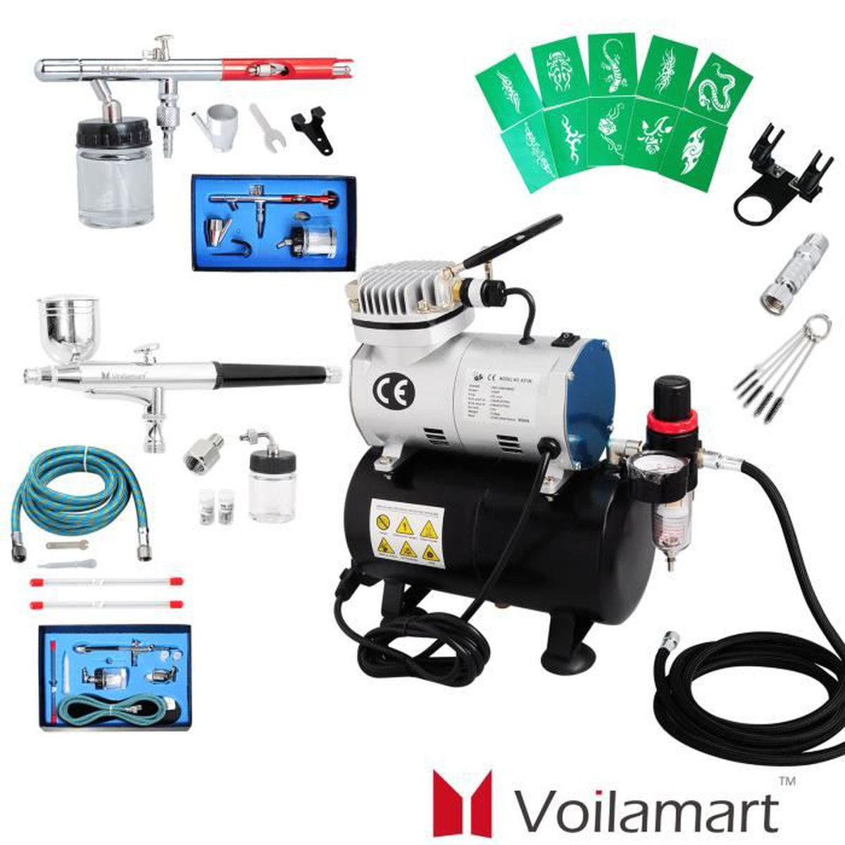 voilamart kit a rographe compresseur airbrush 4bar 2 pistolets 22cc make up spray peinture. Black Bedroom Furniture Sets. Home Design Ideas