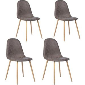 CHAISE CHARLTON Lot de 4 chaises - Simili marron - L 42,5