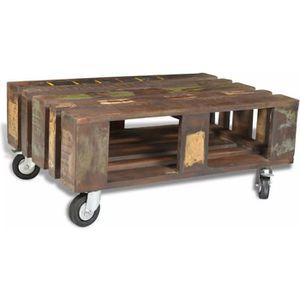 34cm 80 4 Bois avec roulettes Table 56 basse recyclé 7ybf6g