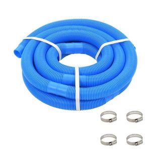 PISCINE Tuyau de piscine avec colliers de serrage Bleu 38
