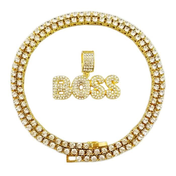 Chaine De Cou Vendue Seule Women's Hip Hop Iced Out Gold Faux Diamond Bubble Dripping Full Name Letters Tennis Chain 22 Inch EQJLS