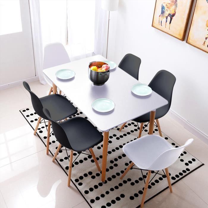 MEUBLE COSY Table Salle à Manger Rectangulaire Scandinave Design Bois pour 4 à 6 Personnes Blance , Blance /110X60X75cm