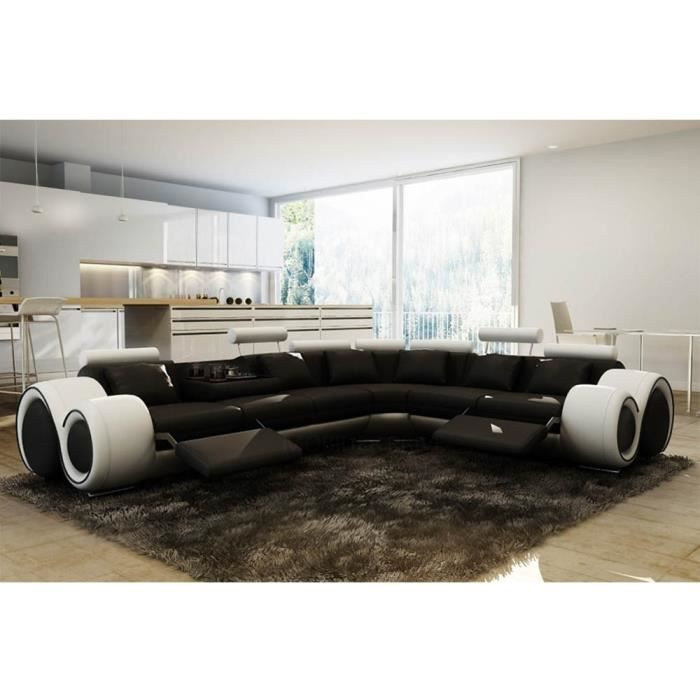 Canapé d'angle cuir noir et blanc + positions relax OSLO - Angle Droit