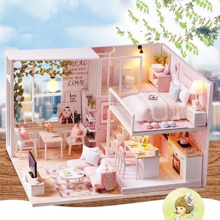 Kits De Maison De Poupée Bricolage Avec Des Meubles - Appartement Duplex Princesse Rose Pour Enfants